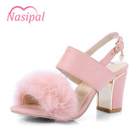 Nasipal woman sandals high heel shoes sexy peep toe fur woman shoes buckle lady shoes big size 31~44 pink gray red black NT021