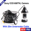 Underwater Fishing Camera Kit HD CCD 650TVL 18Pcs IR/White LED Lights Camera Night Vision Rotate At 360 Degree With 20m Cable