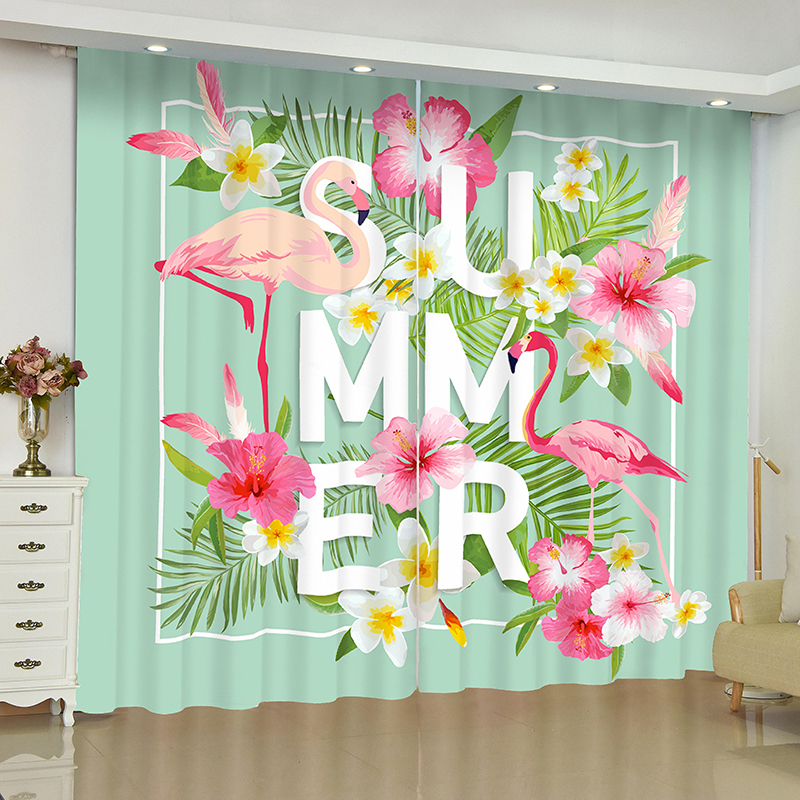 Flamingo curtains for window Rainforest Flamingo blinds finished drapes window blackout curtains parlour room blinds curtain-in Curtains from Home & Garden