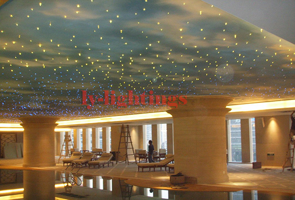 DIY color change star optic fiber light kit led light source+150pcs optical cables +150 tailpieces RF remote home ceiling light