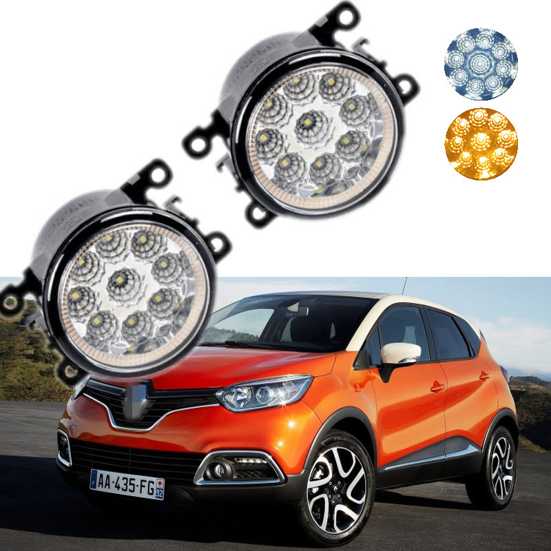 Car Styling For Renault Captur 2013-2017 9-Pieces Leds Chips LED Fog Light Lamp H11 H8 12V 55W Halogen Fog Lights microfiber leather steering wheel cover car styling for renault scenic fluence koleos talisman captur kadjar