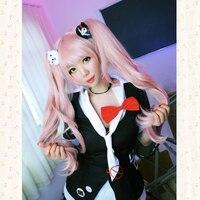 Danganronpa Enoshima Junko Pink Cosplay Wig 2 Clip Ponytails Bear Bunny Headwear + Wig Cap