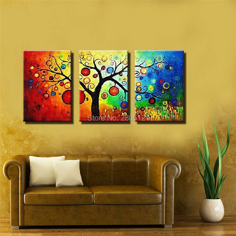 Hand painted cheap coloring apple tree painting colorful life tree ...