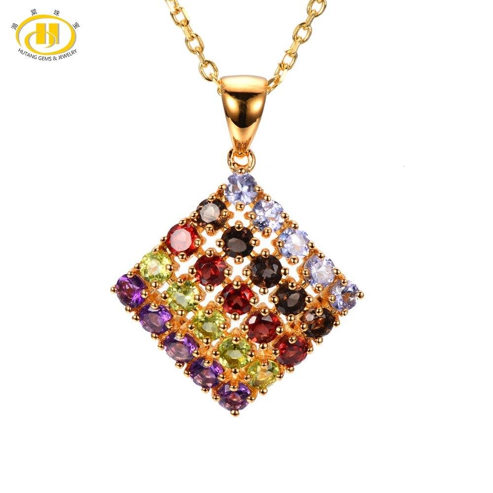 цена Hutang Stone Jewelry Multi Color Gemstone Tanzanite Quartz Garnet Peridot Amethyst Solid 925 Sterling Silver Pendant Necklace онлайн в 2017 году