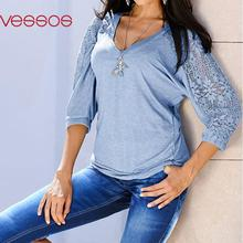 Women Summer Solid Fashion Lace Three-Quarter Sleeve Fit Top V-Neck Blouses Light Blue/Dark Grey S/M/L/XL Blusas Y Camisas Mujer
