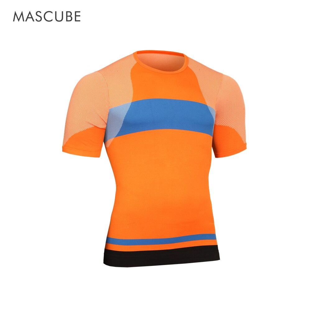 MASCUBE 2017 Nova Camisa T-Shirt dos homens de Manga Curta Calças Justas de Compressão Musculação Camisa T-Shirt Encabeça Roupas de Marca Masculino