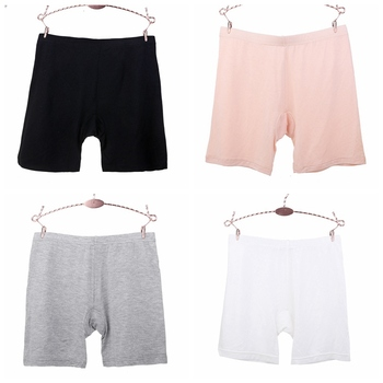 Women Casual Solid Safety Short Pants Underwear Seamless Lace Modal Mid-Waist Anti-Light Safety Boxer Shorts