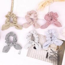 Hair Accessories Cute Rabbit Ear Striped Hair Scrunchies For Women Girls Elastic Hair Band Headwear Hair Rope Rubber Band Tie
