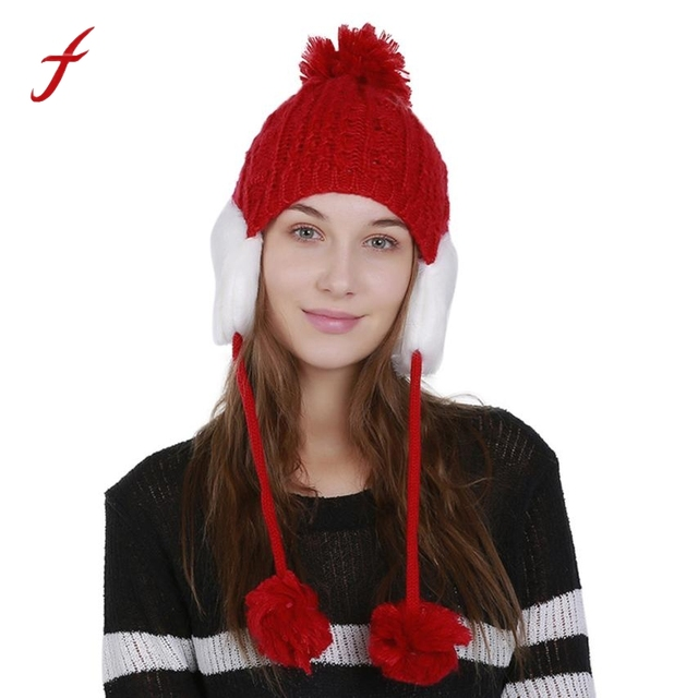 540d914071a2d 2018 Fashion Design Women Warm Crochet Winter Wool Knit hats Ski Beanie  Caps Hat Protect Ears Hairy Bulb fur pompom gorros mujer