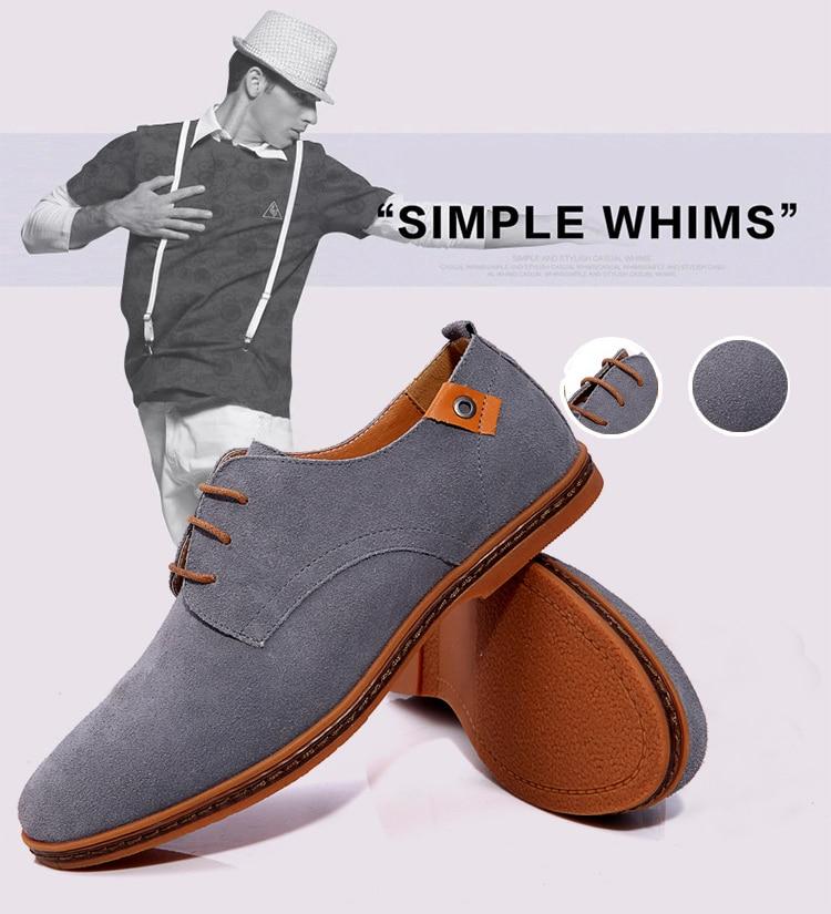 2019 fashion men casual shoes new spring men flats lace up male suede oxfords men leather shoes zapatillas hombre size 38-48