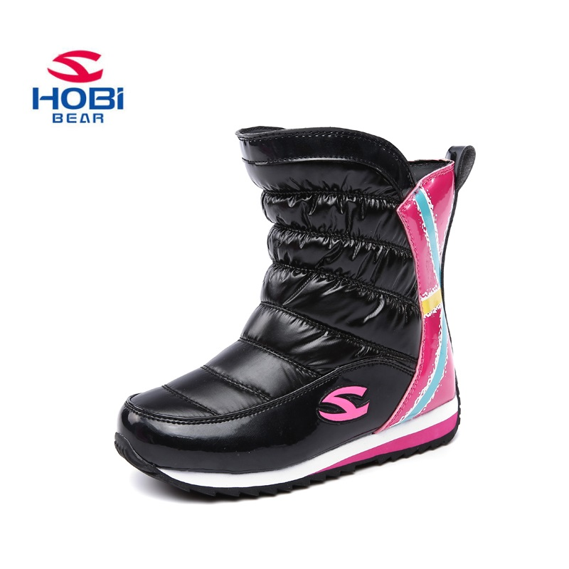 HOBIBEAR Winter Girls Snow Boots Warm Slip Resistant Children Shoes Zipper Red Black Purple Kid Boots AW3081 new original 516 371 g e4 c s4 00 2 warranty for two year