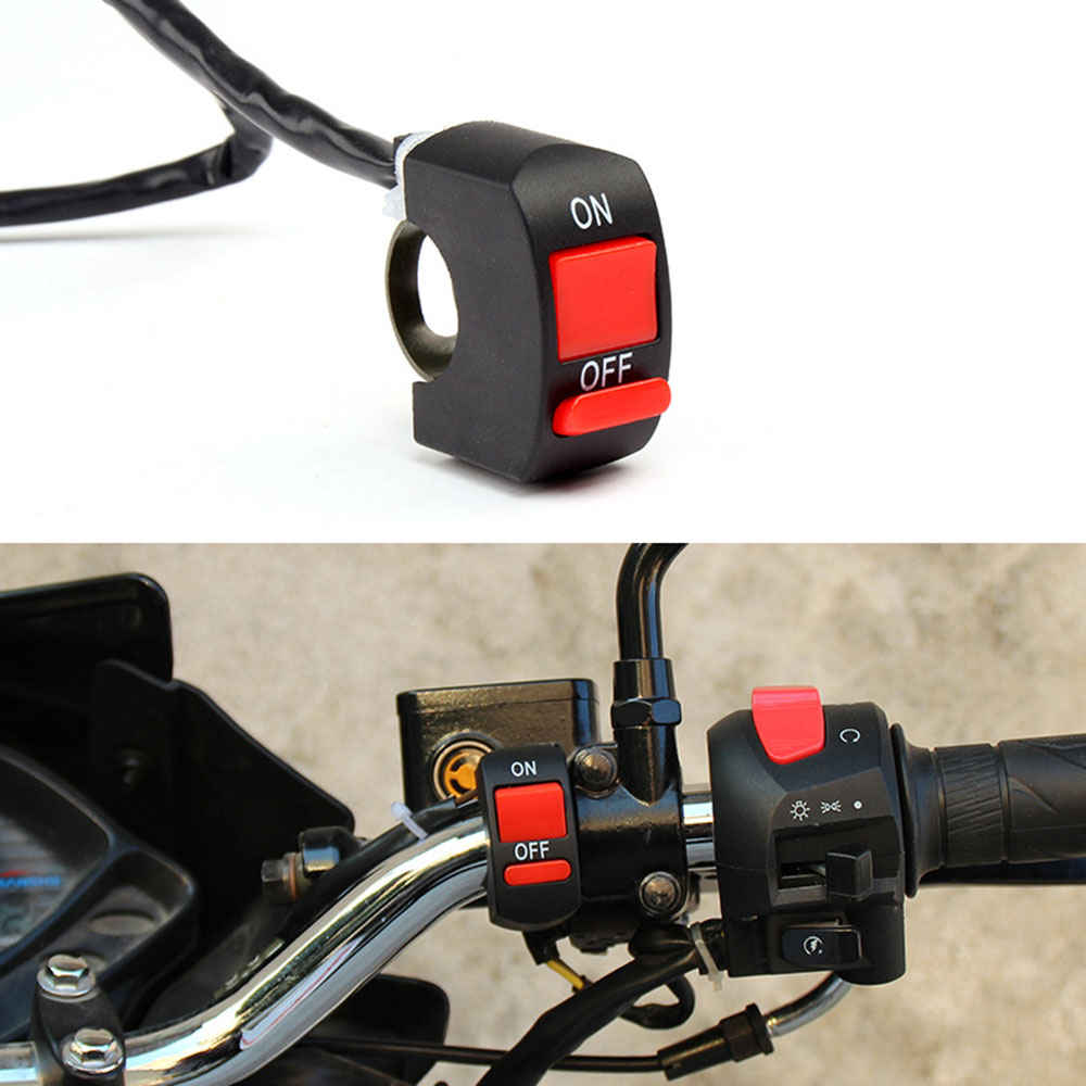 Universal Motorcycle Switches Motorcycle Handlebar Flameout Switch ON OFF Button for Moto Motor ATV Bike DC12V/10A Black