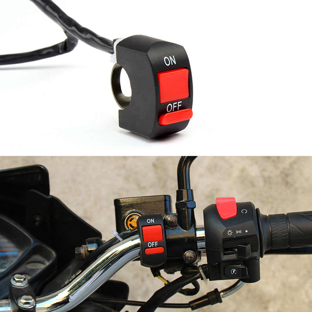 Universal Motor Switch Stang Sepeda Motor Flameout Switch On Off Tombol untuk Moto Motor Sepeda ATV DC12V/10A Hitam