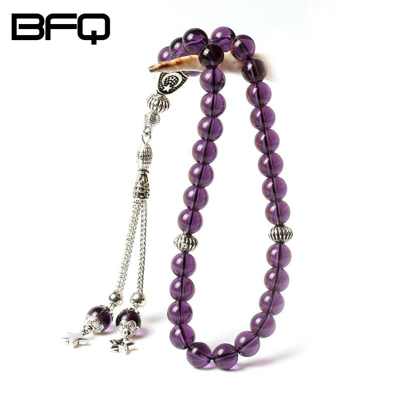 AEM Brillant Violet Cristal Forme Ronde 33 Perles de Prière Chapelet Islamique Musulman Tasbih Allah Misbaha Masbaha Tesbih NS-MR028