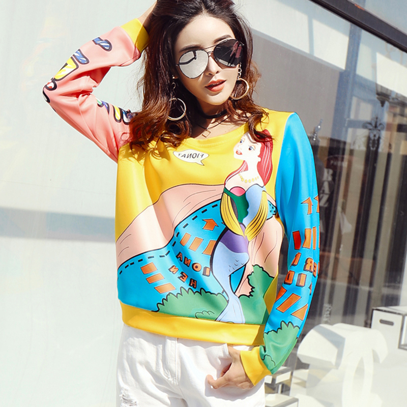 c5034538 Women O-Neck Long Sleeve Sweatshirts Female 2018 Spring Autumn Sweet Cartoon  Print Pullovers Casual Loose Plus Size Tops LY611
