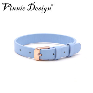Image 5 - Vinnie Design Jewelry Genuine Leather Wrap Bracelets with Rose Gold Buckle for Keeper Slide Charms Multicolor 10pcs/lot