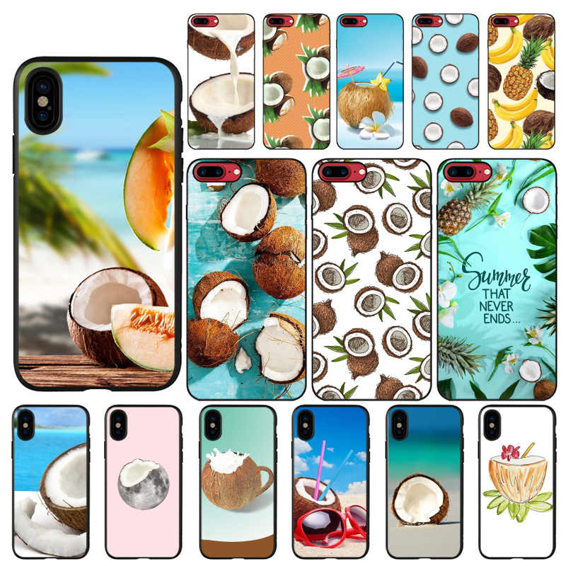 MaiYaCa Fruit Coconut In Blue Sky Summer TPU Soft Silicone Phone Case  for iPhone 8 7 6 6S Plus X XS MAX 5 5S SE XR 10 Cover