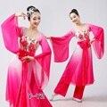 Mujer de color rosa flor azul Bordado Chino ropa de danza clásica fan/yangko/paraguas/tambor/trajes de danza folclórica funcionamiento de la etapa