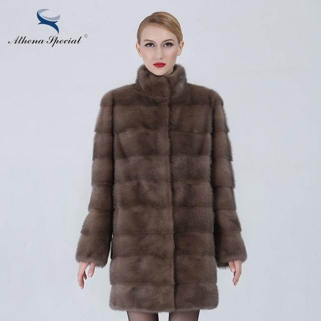 Athena Special Long Fur Coat Luxury Women Real Mink Coat Detachable Sleeve Casual Type Ladies Genuine Mink Fur Coat Medium Slim