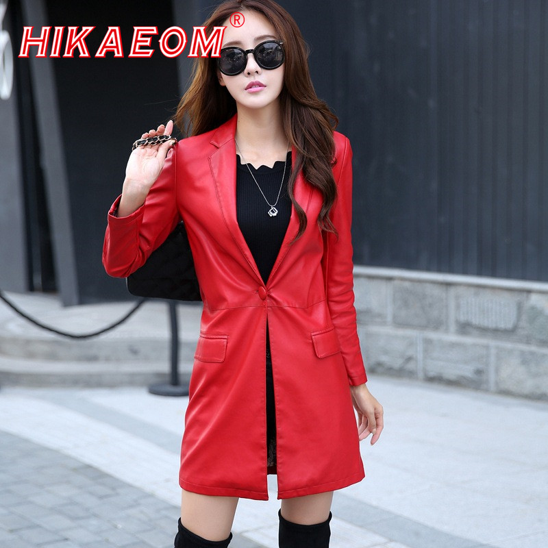 Especially Women Pu   Leather   CoatGirl Turn Down Collar Single Button Long Coat Female Loose Fur Italy Winter Coat