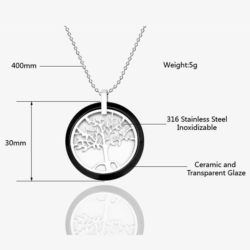 ใหม่สีดำสีขาวเซรามิครอบจี้สร้อยคอ Tree Of Life สำหรับผู้หญิง 40 ซม.ห่วงโซ่เงินสแตนเลสเซรามิคเครื่องประดับ