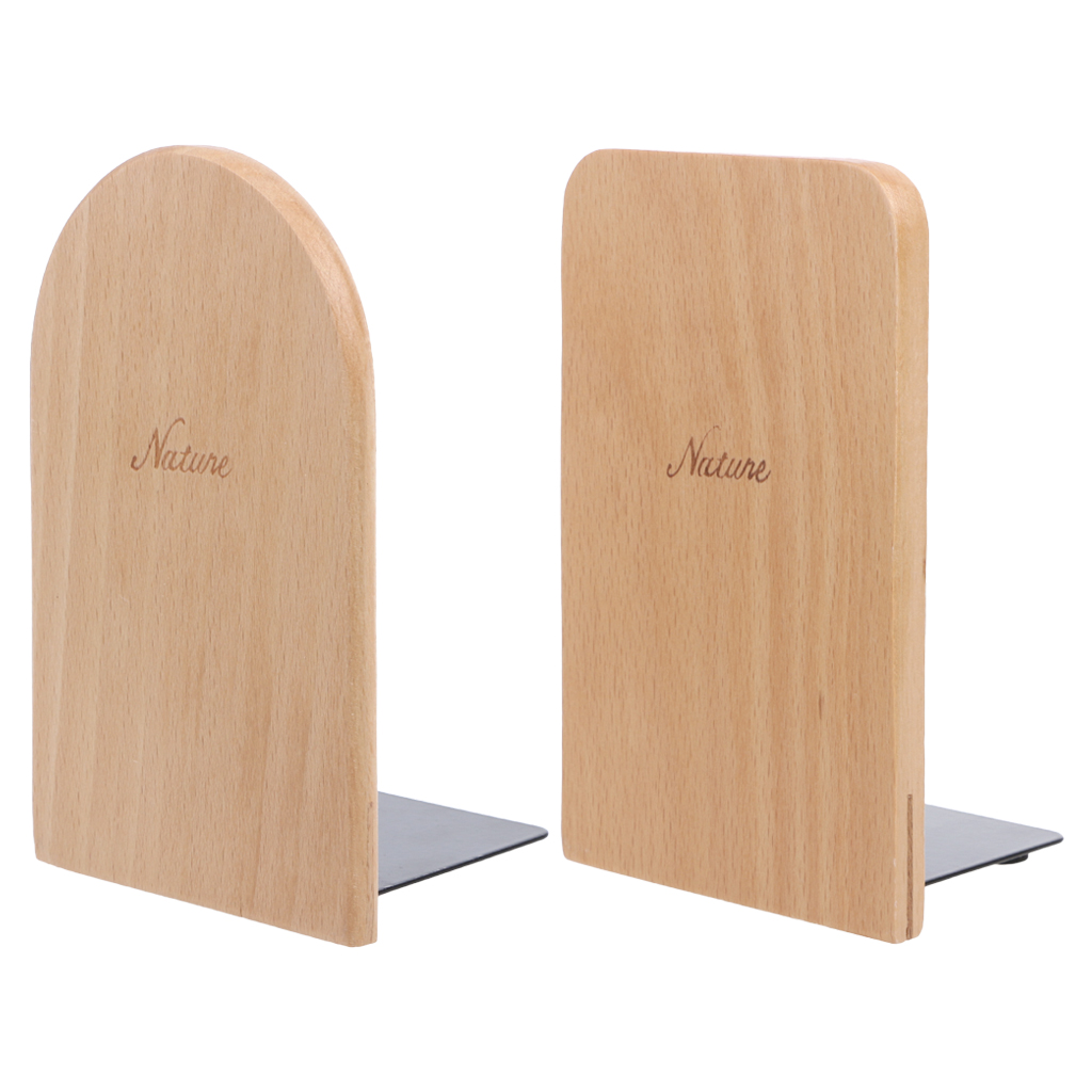 Nature Wooden Desktop Organizer Desktop Office Home Bookends Anti-skid Book Ends Stand Holder Shelf