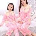 2-14 T Niños de Invierno Pijamas de Franela ropa de Dormir Para Bebés Niñas Niños Fleece Mather Family Kids Sistemas de la Ropa Ropa de Dormir Homewear