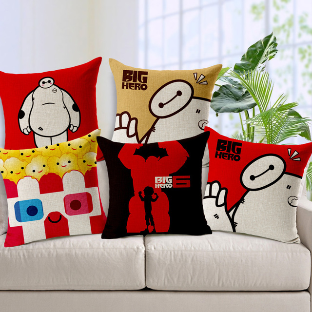 Big Hero Cartoon Printed Cushion Covers Bedding Pillow Case Movie Film Character 1818inch Home