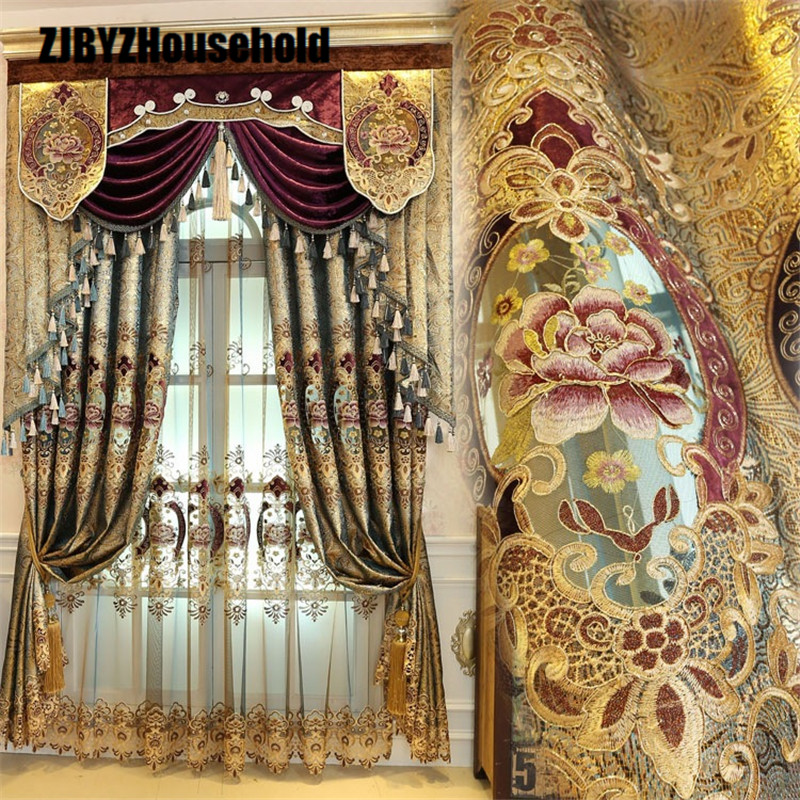 High-end European Gold Gold Leather Water Curtain Curtains For Living Room Bedroom Valance