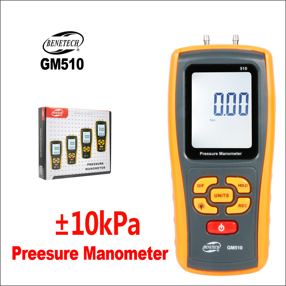 BENETECH Pressure Gauge Manometer Pressure Differential Tester Handheld Digital Manometer Pressure Manometer GM510 GM511