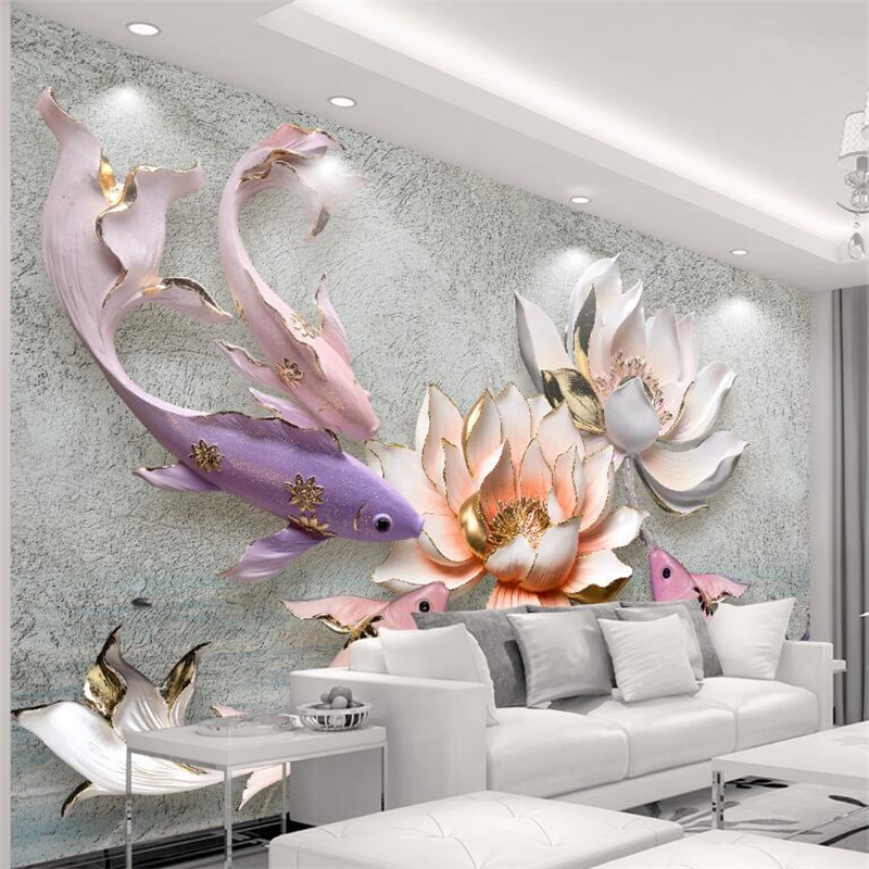 Beibehang 3D Wallpaper Relief Lotus Fish Retro Fresh TV Background Wall Living Room Bedroom Mural Wallpaper For Walls 3 D Photo