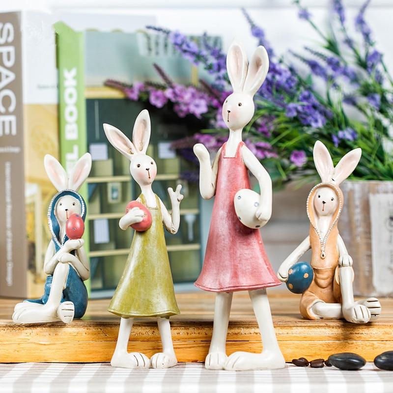 Handmade resin rabbit ornaments small creative animal for Rabbit decorations home
