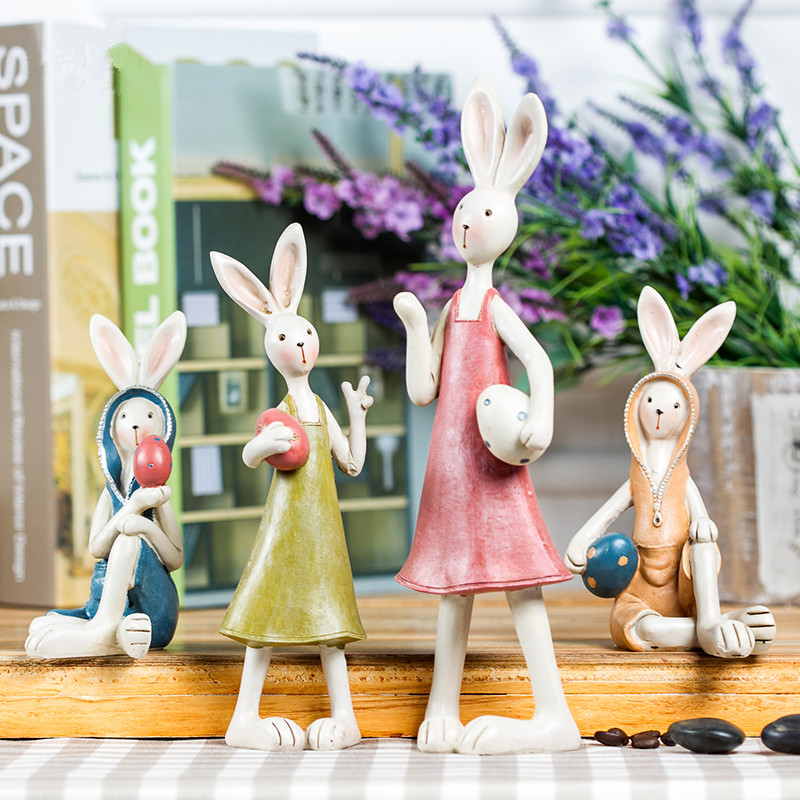 handmade resin rabbit ornaments small creative animal figurine decorative crafts easter bunny decors modern home decorations(China (Mainland))