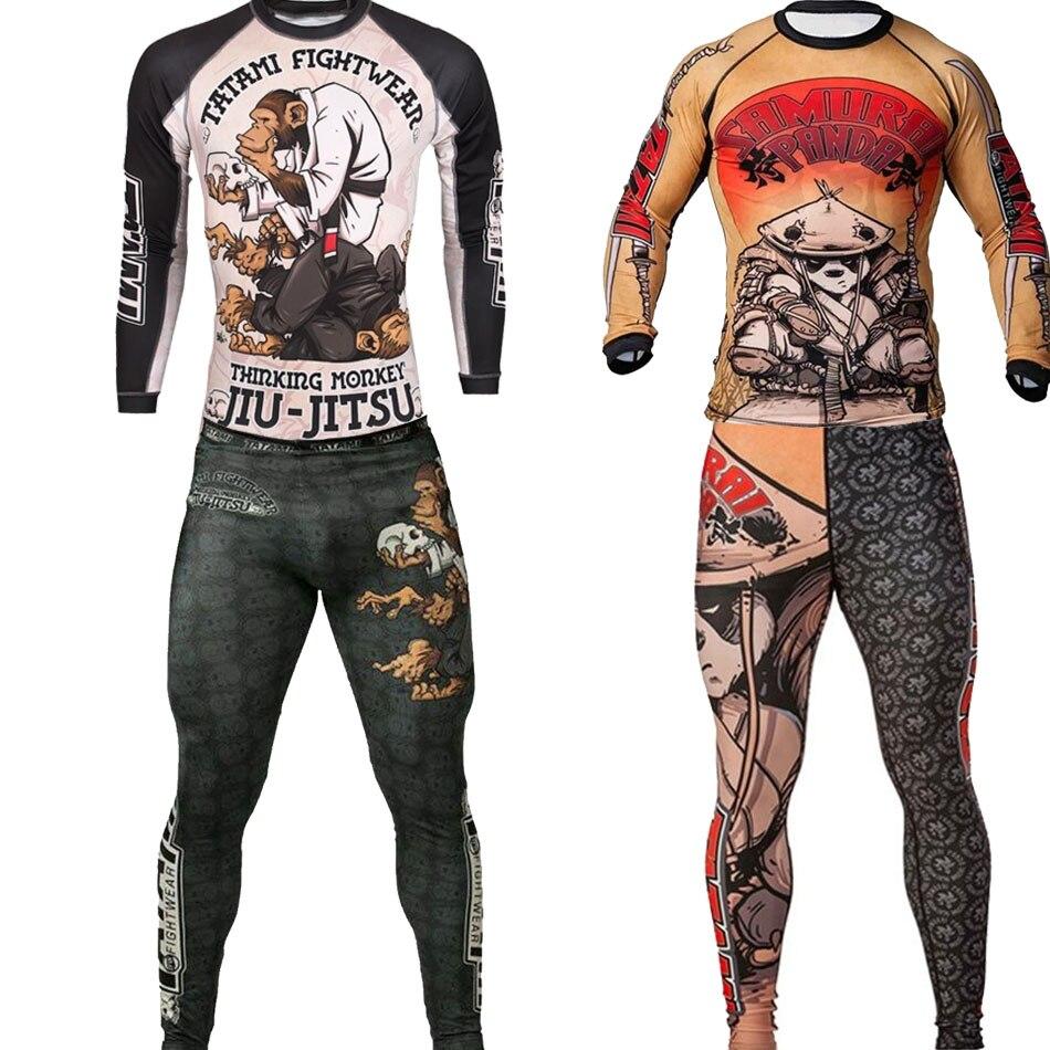 Jiu jitsu t-shirts Mma rashguard hommes ensemble de boxe maillots de Compression pantalons 3D singe impression KickBoxing Muay Thai fitness collants