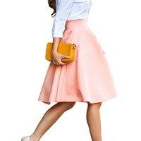 pink Summer Autumn Women Skirts New Fashion Elegant Solid High Waist Slim Pleated A line Bust Skirt Hot Sale Women Midi Skirt