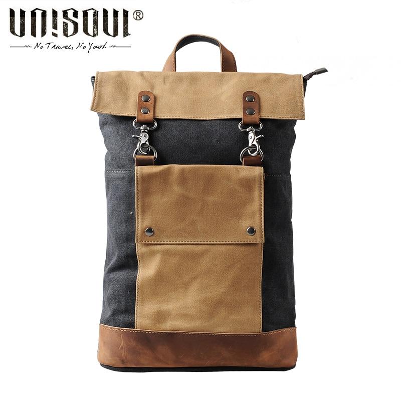 UNISOUL Travel backpack bag Designed Men s Backpacks Patchwork Canvas Bags Men Preppy Style Backpack Vintage