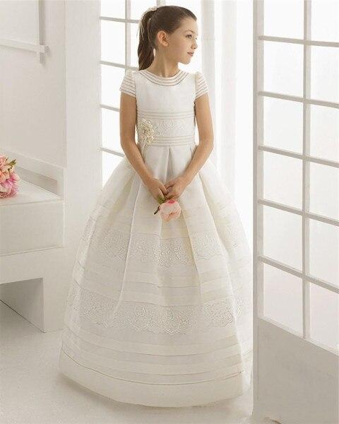 2018   Flower     Girls     Dresses   Satin First Communion High Collar Sash   Flowers   Short Sleeve Wedding Birthday Party robe fille mariage