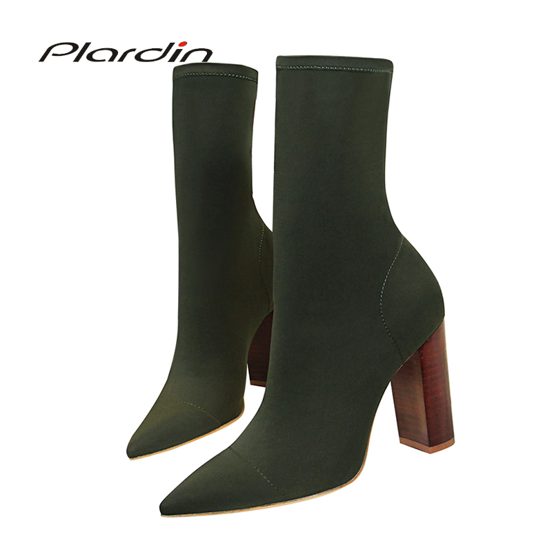 Plardin New Women Pointed Toe Retro Wood Grain Square Heel Mid-calf Concise Stretch Fabric High Heels Woman Winter Boots