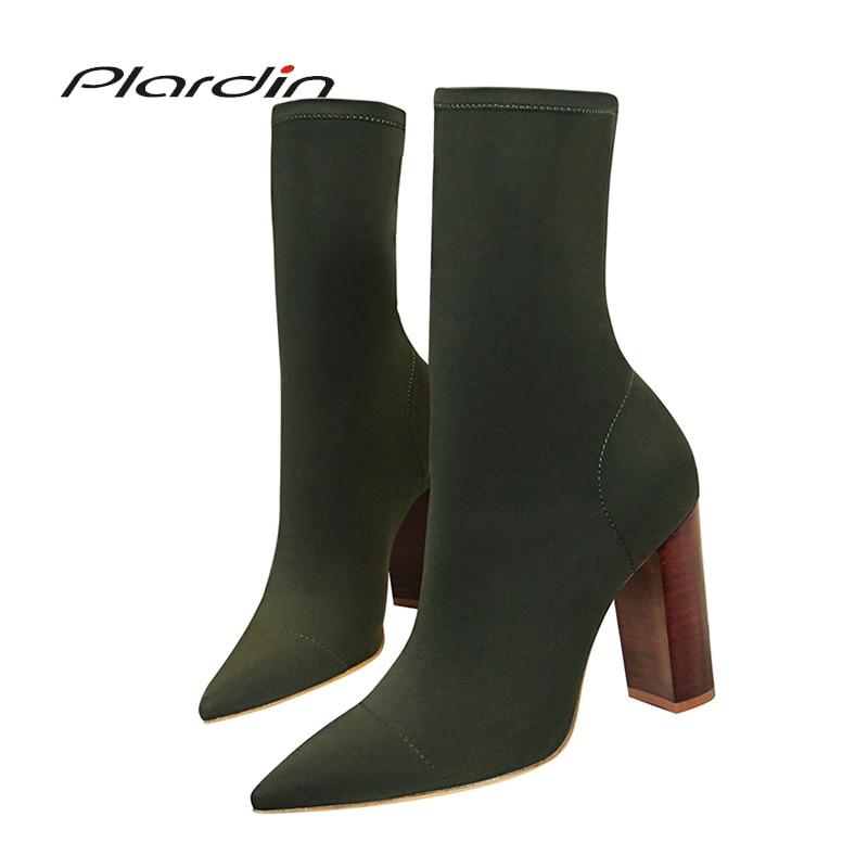 Plardin New Women Pointed Toe Retro Wood Grain Square Heel Mid-calf Concise Stretch Fabric High Heels Woman Winter Boots