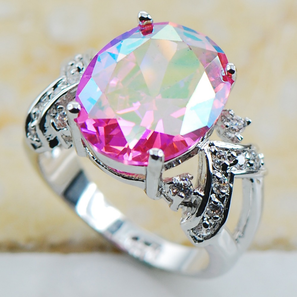 Rose Rainbow Crystal Zircon 925 Sterling Silver Top Quality Fancy Jewelry wedding Ring Size 6 7