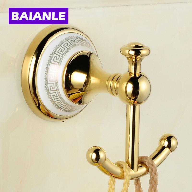Hot selling-Bathroom Accessories European Antique Copper ceramic Robe Hook ,Clothes Hook,Coat Hook,Bathroom Products