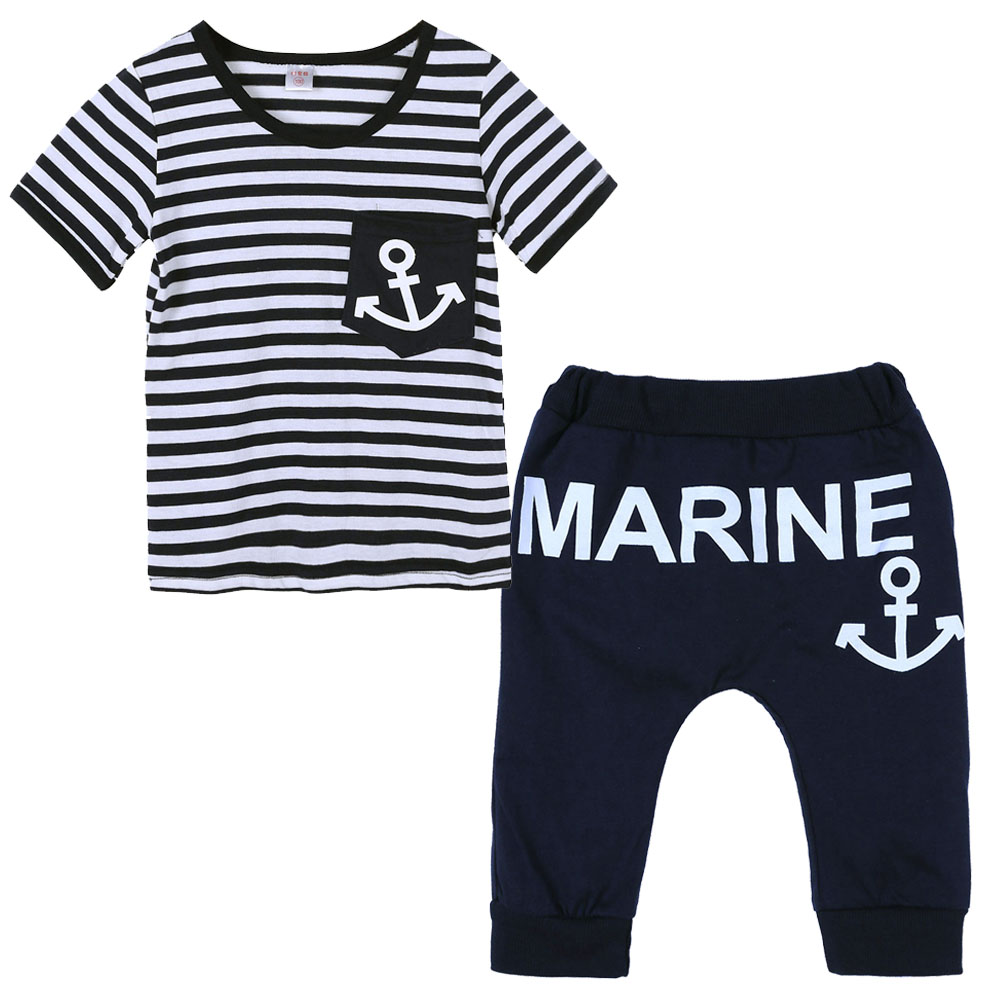 Baby Boy Clothing Set Summer Kids Pants+Top Navy Stripe Boys Clothes Children Tracksuit Casual Boys T-shirt Tops Summer Clothes 2pcs children outfit clothes kids baby girl off shoulder cotton ruffled sleeve tops striped t shirt blue denim jeans sunsuit set