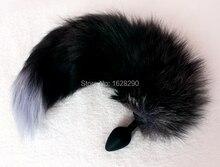 Silicone Butt Plug , Black Fox Tail Anal Plug