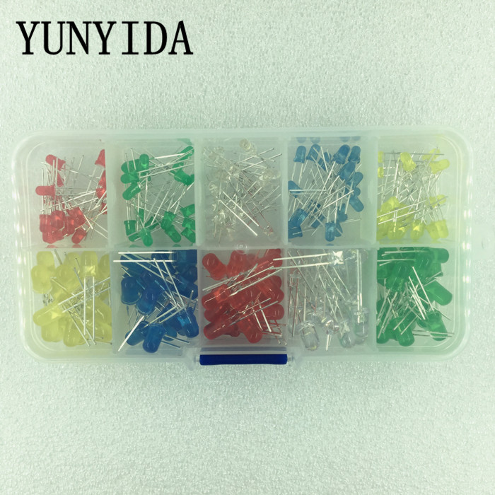 200 uds/lote 3MM 5MM Kit Led con caja de colores mezclados rojo verde amarillo azul blanco Diodo Emisor 20 piezas cada uno nuevo