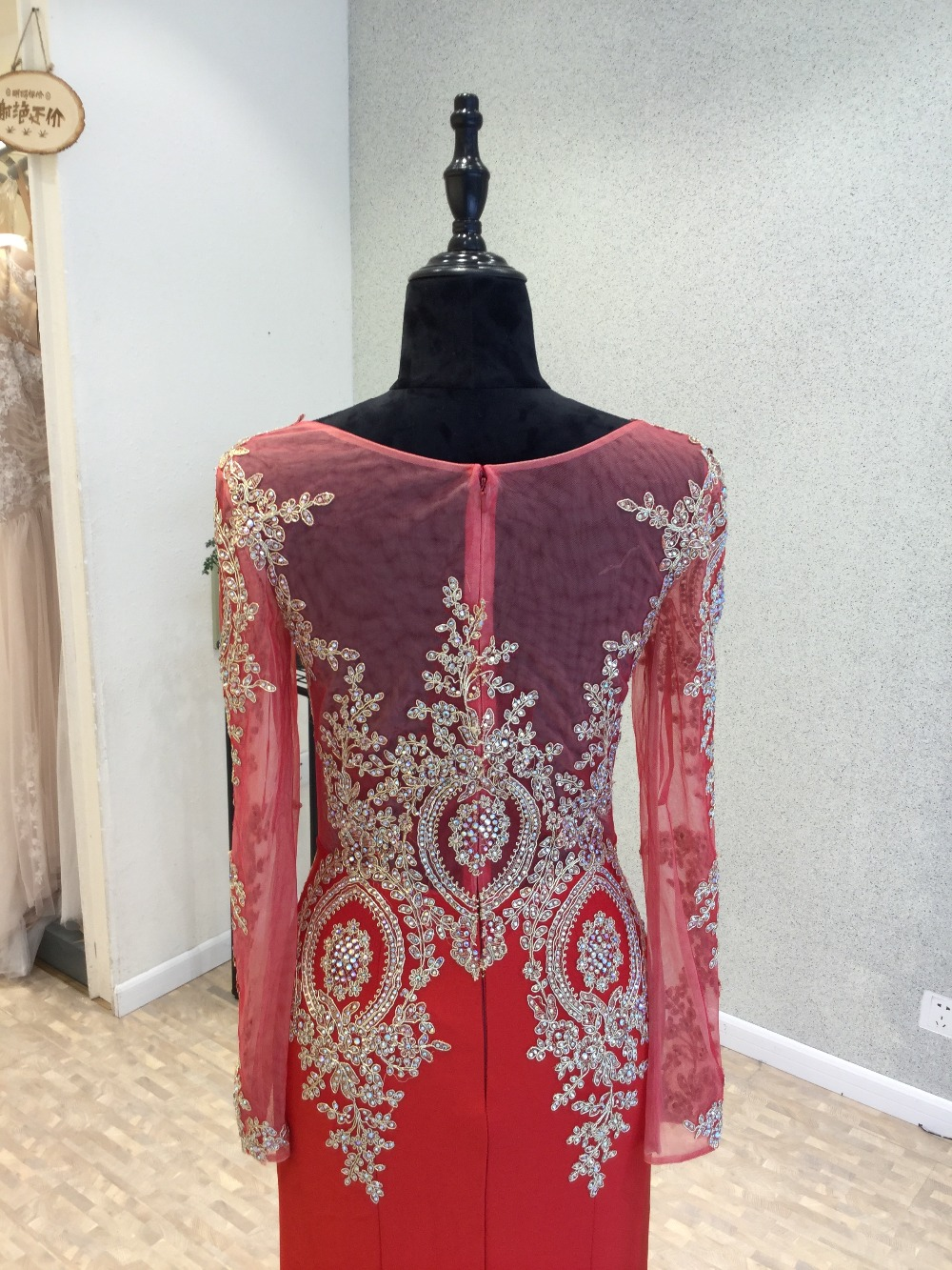 Robe de soirée Sexy rouge robe de soirée 2018 o-cou manches longues longueur au sol Appliques en mousseline de soie robes de bal robes de soirée - 5