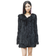 CX-G-A-148A New Hooded Genuine Rabbit & Raccoon Fur Knitted Fashion Winter Women Clothing Long Fur Coat