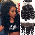 Lace Frontal Closure With Bundles Loose Wave Virgo Mink 8A Malaysian Loose Wave Virgin Hair With Closure Loose Wave With Frontal