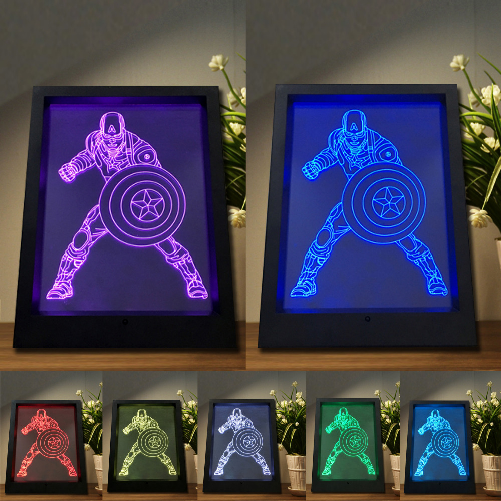 3d novelty photo frame captain america vision led night light 7 3d novelty photo frame captain america vision led night light 7 color changing remote controltouch switch decor lamp best gifts in led night lights from jeuxipadfo Images