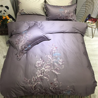 Papa&Mima brown egyptian cotton fabric Bedclothes king queen size Embroidery Bedlinens 4pc Bedding Set