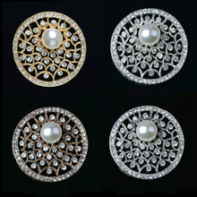 2pcs/lot Pearls Rhinestone Buttons Flatback DIY Decorative for Brooch Pin Dress Coat Bag Alloy Badge Wedding Accessories